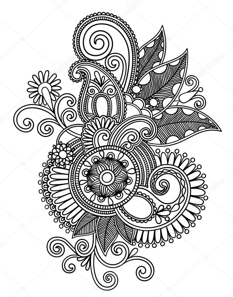 Hand draw line art ornate flower design — Stock Vector
