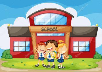 Kids infront of school Stock Vector © interactimages #12372243