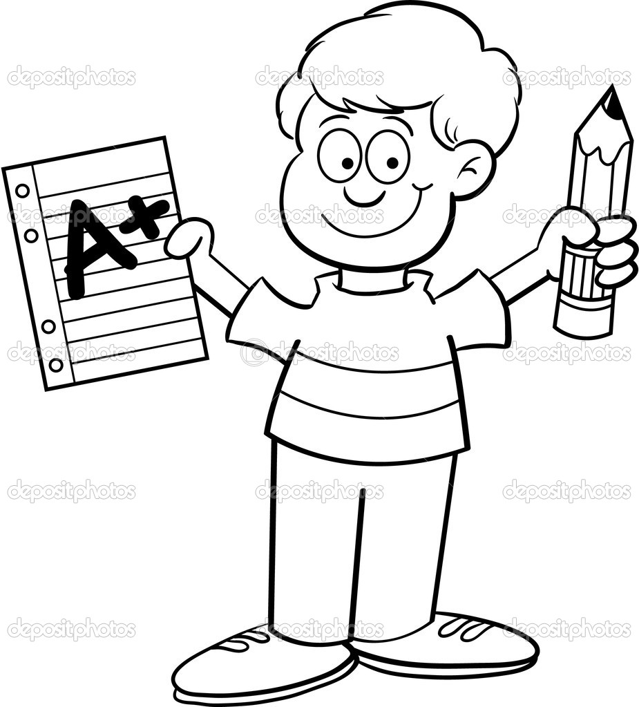 Cartoon illustration of a boy holding a paper and a pencil