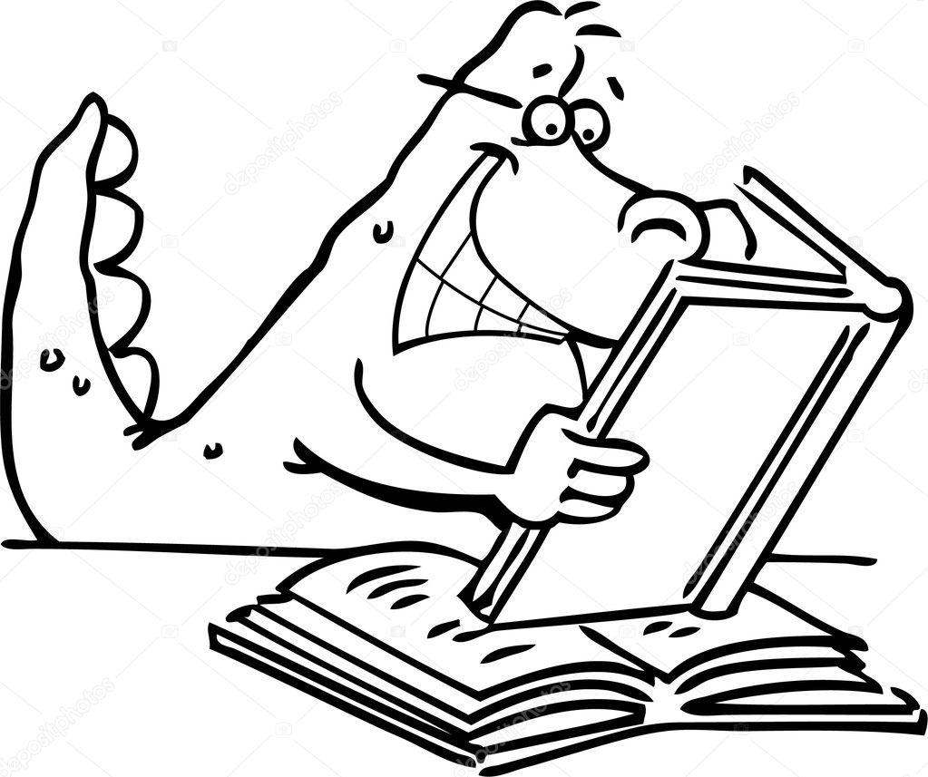 Cartoon illustration of a dinosaur reading a book for