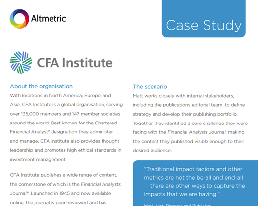 CFA Institute Tracking Engagement And Attracting New Talent – Altmetric