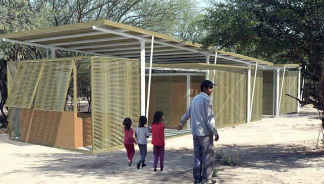 Prototipo. La vivienda es modular, puede transportarse y respeta el modo de habitar de la comunidad wichi. Hoy habitan en ranchos de silos bolsa.