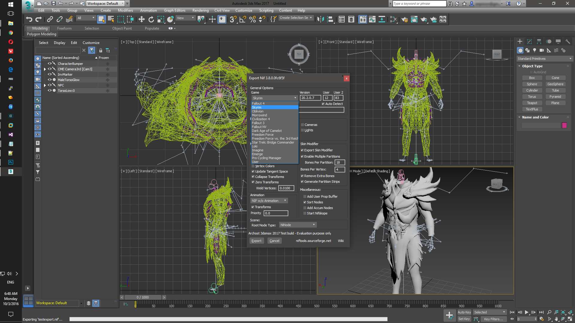 Nif Export-Import plugin for 3Ds Max 2017 at Skyrim Nexus - mods and community