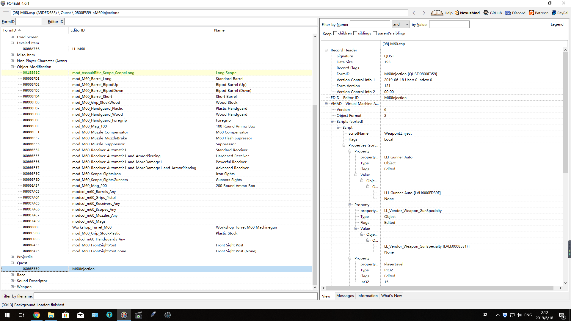 Scripted Leveled List Injection for M60 Beta at Fallout 4