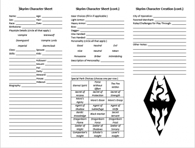 Character Creation Sheet and Other Minor Resources at