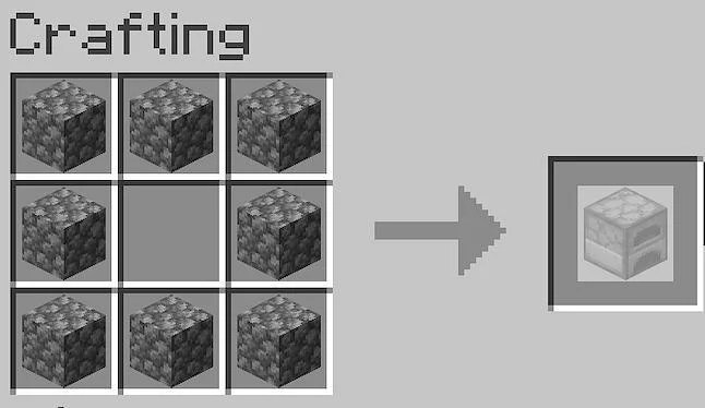 Place eight pieces of cobblestone around the outside perimeter