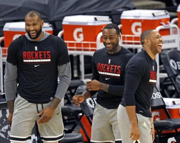 Demarcus Cousins Houston Rockets # 15, John Wall # 1, and Eric Gordon # 10Â
