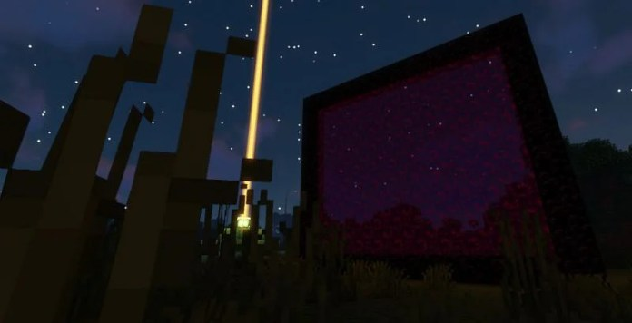 Shown: A massive Nether Portal next to a Beacon (Image via Minecraft)