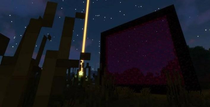 Shown: A massive Nether Portal next to a Beacon (Image via Minecraft)