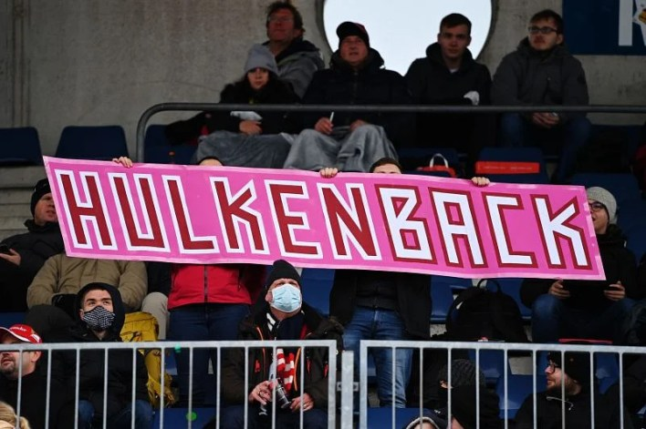 Fans show their support for Nico Hulkenberg and Racing Point during the 2020 F1 Eifel Grand Prix. Photo: Ina Fassbender - Pool/Getty Images.