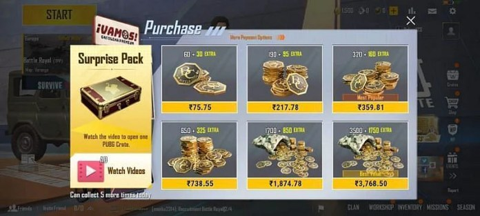 The various top-up options that appear in PUBG Mobile Lite