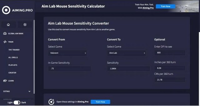 Sensitivity conversion: Valorant to Aim Lab in AIMING.PRO