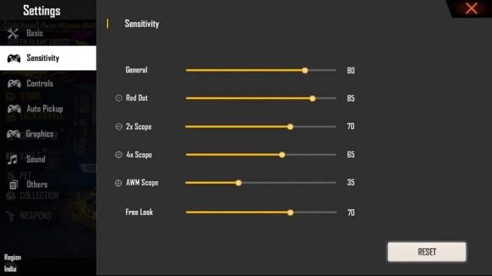 Sensitivity settings in Free Fire