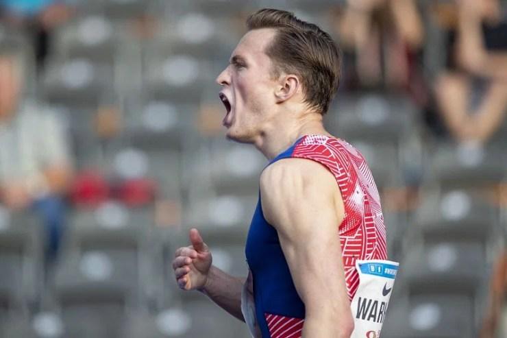 Karsten Warholm celebrates after breaking the world record in 400m hurdles