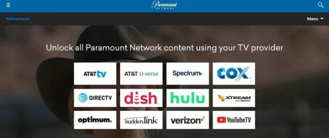 TV streaming services featuring the Paramount network (via image Paramount)