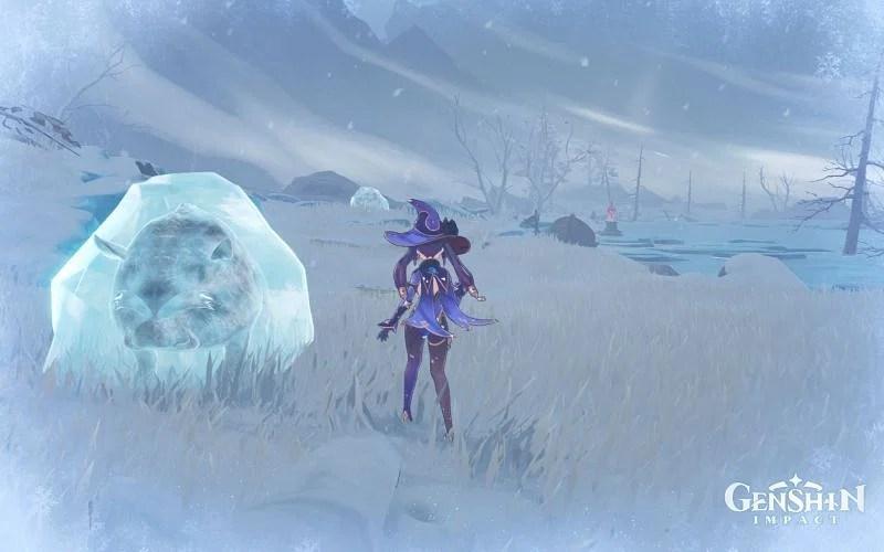 A frozen Snowboar (Image via Genshin Impact)