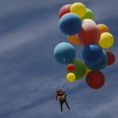Chair With Balloons Covers For Baby Watch Daredevil Fly Over South Africa In A Garden Helium