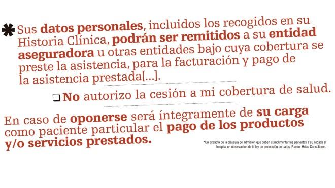 Extracto de la cláusula de admisión que deben cumplimentar los pacientes a su llegada al hospital en obseravción de la ley de protección de datos