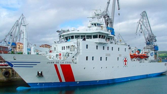 El buque hospital Juan de la Cosa estuvo atracado en el puerto de Santander del 27 de junio al 2 de julio.