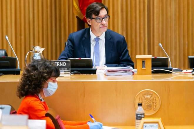 Salvador Illa, ministro de Sanidad, en comparecencia ante la Comisión de Sanidad del Congreso.