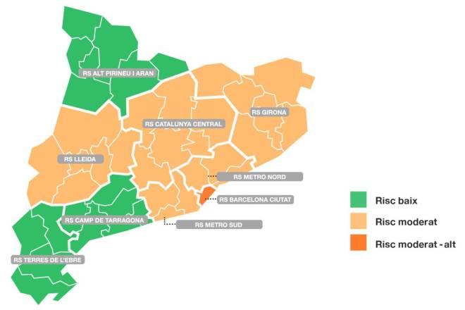 Nivel de riesgo por 'regiones sanitarias' en Cataluña (6 de mayo).