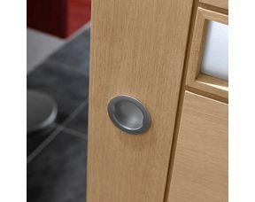 poignee ronde chromee pour porte coulissante en bois sans serrure