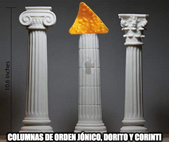 Columnas de orden jónico, dorito y corintio.