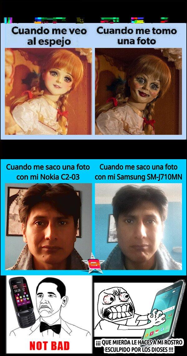 Los selfies de los Samsung son algo raros