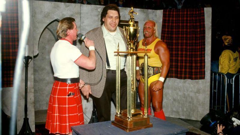 Andre with Roddy Piper and Hulk Hogan