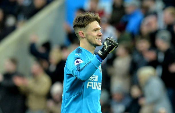 Freddie Woodman celebrates during Newcastle's FA Cup match in January