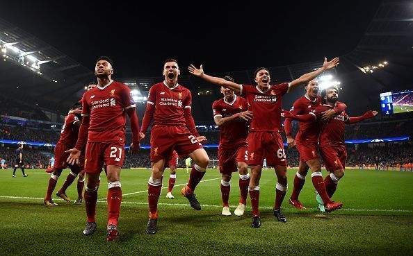 Liverpool players celebrate a goal during their 2-1 away victory over Manchester City
