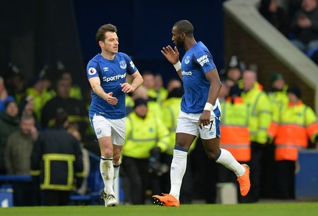 Yannick Bolasie and Leighton Baines celebrate the former's goal against Manchester City