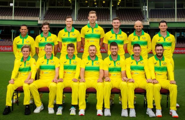 The Australian team with their ODI jersey for the series against India