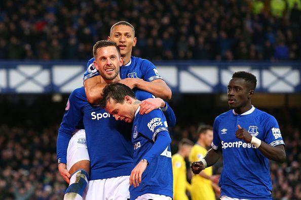 Sigurdsson, Richarlison, Bernard and Gueye celebrate during a memorable home win for Everton