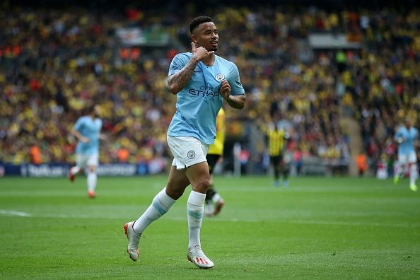 Jesus wheels away to celebrate his second strike of the evening against Watford, repaying Pep's faith