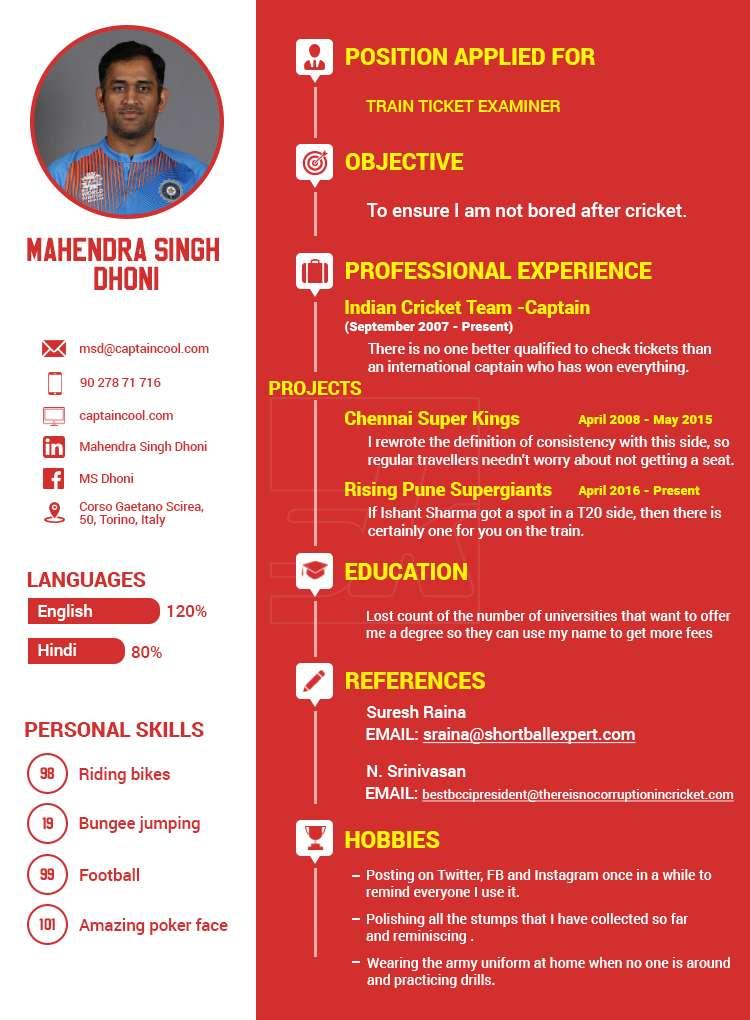 Humour MS Dhonis postretirement CV