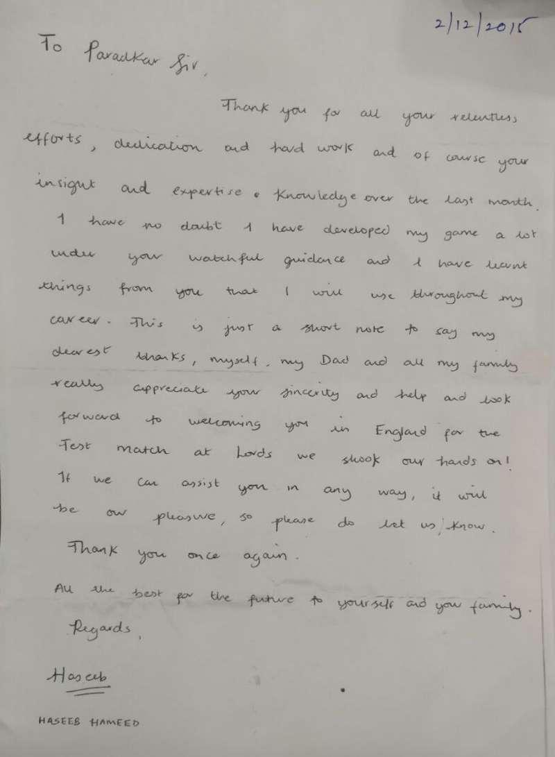 Haseeb Hameed's heartfelt letter to his Mumbai coach will