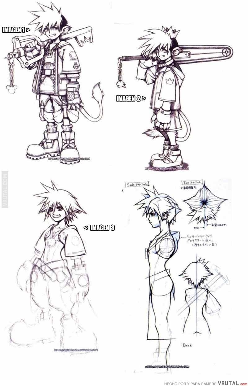 VRUTAL / Bocetos originales de Sora de Kingdom Hearts