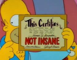 """Homer Simpson """"Not Insane"""""""