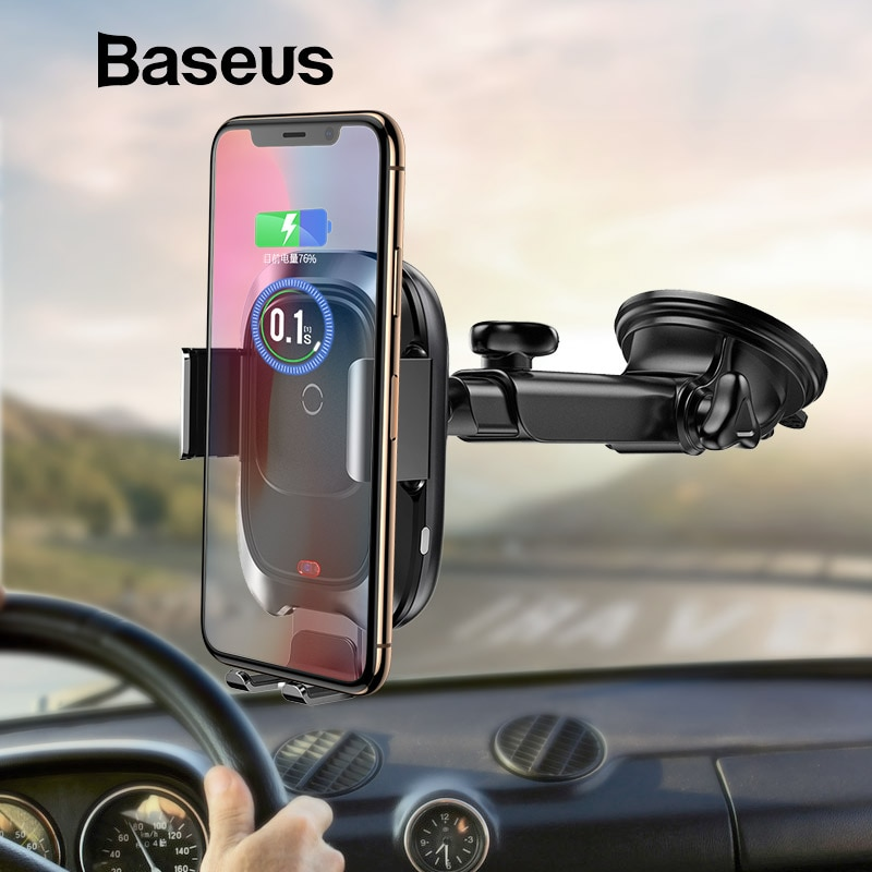 Baseus Qi Car Fast Wireless Charger for iPhone & Samsung Car Stand