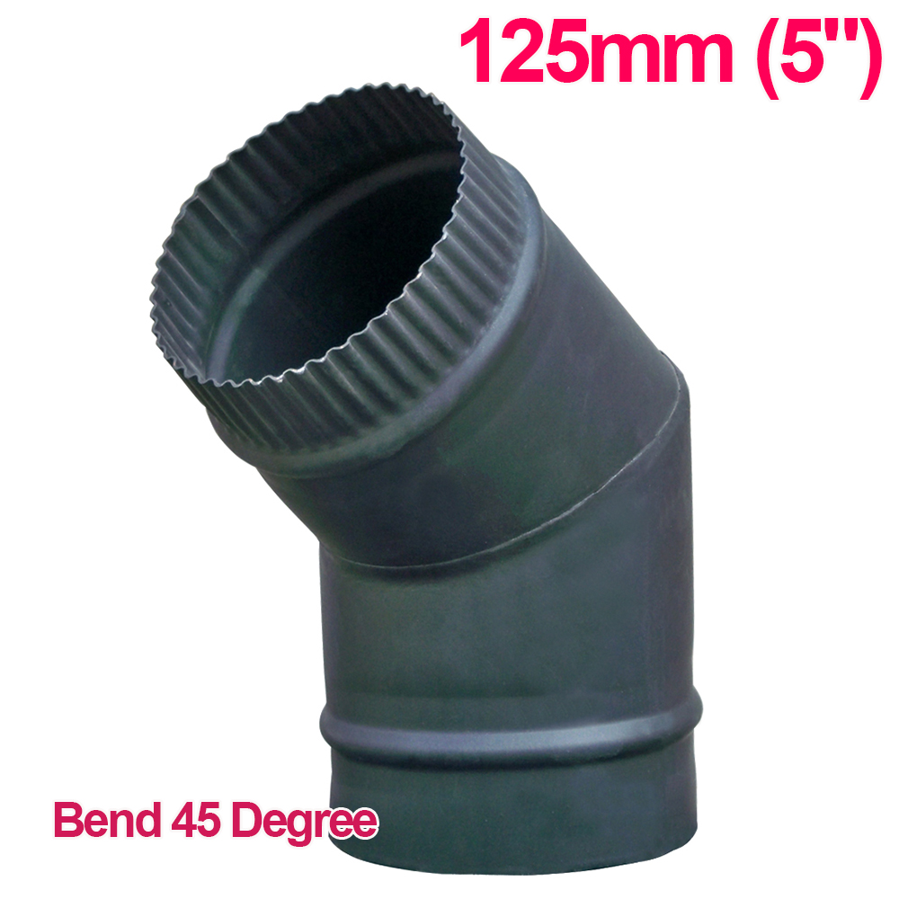 """125mm 5"""" Matt Black Chimney Stove Flue Pipe For Wood"""