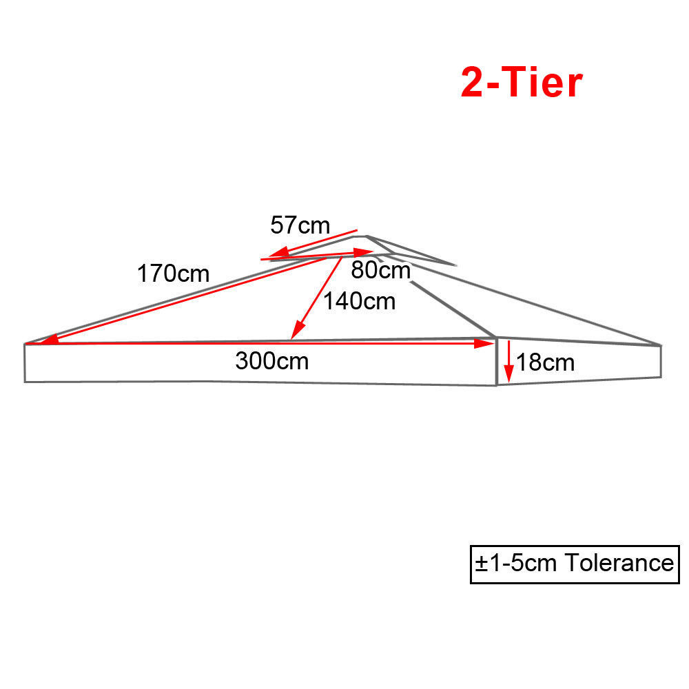 3x3M 2-Tier Garden Gazebo Top Cover Roof Replacement