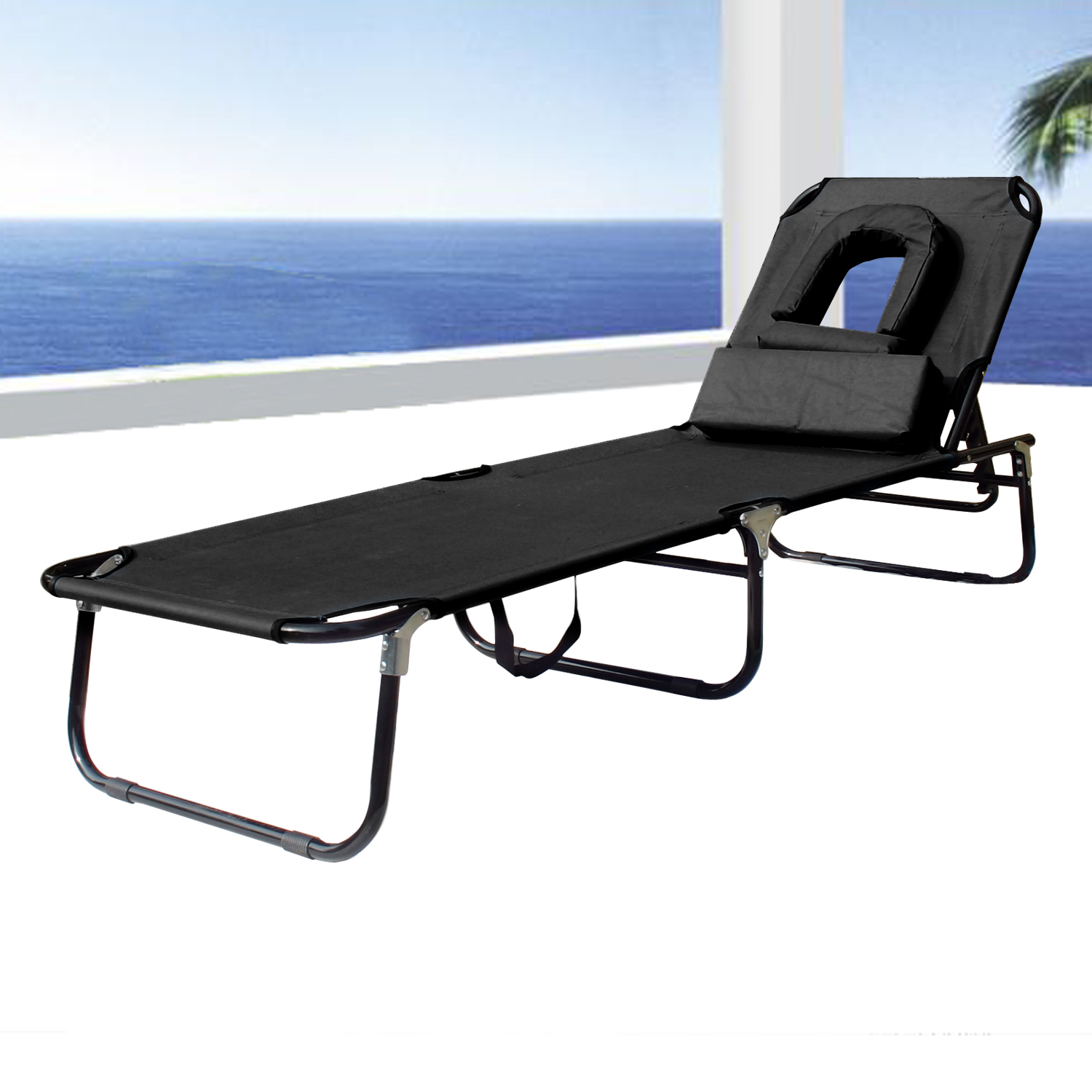 Beach Lounger Chair Sun Bed Chair Beach Recliner Lounger Pool Seat With Hole U