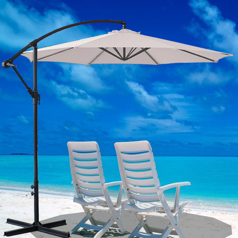 sail cloth beach chairs green chair 2005 3m garden banana parasol sun shade patio hanging rattan