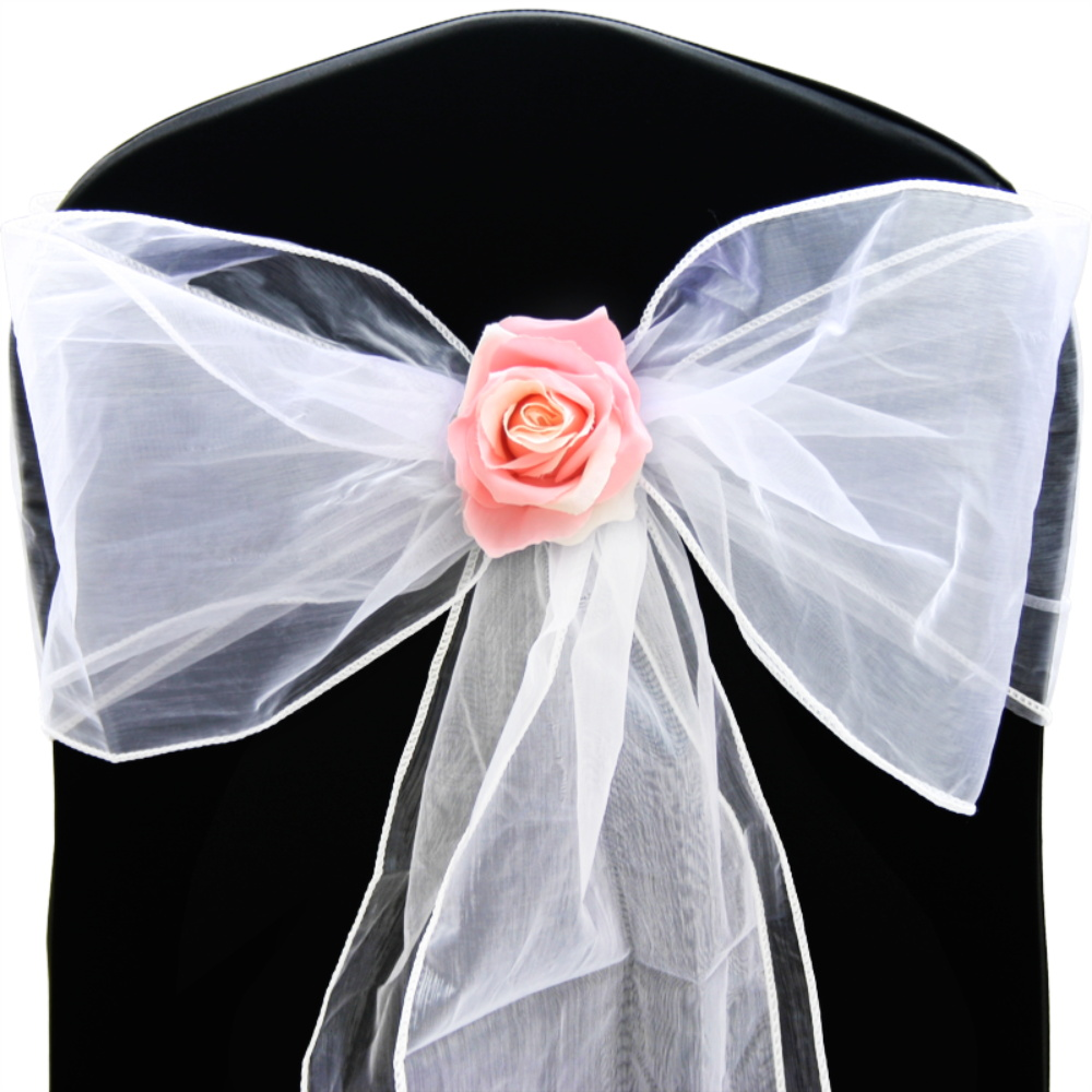 1 10 50 100 Organza Sashes Chair Cover Bow Sash WIDER