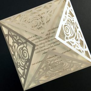 Rose lasercut invitation Opal closed
