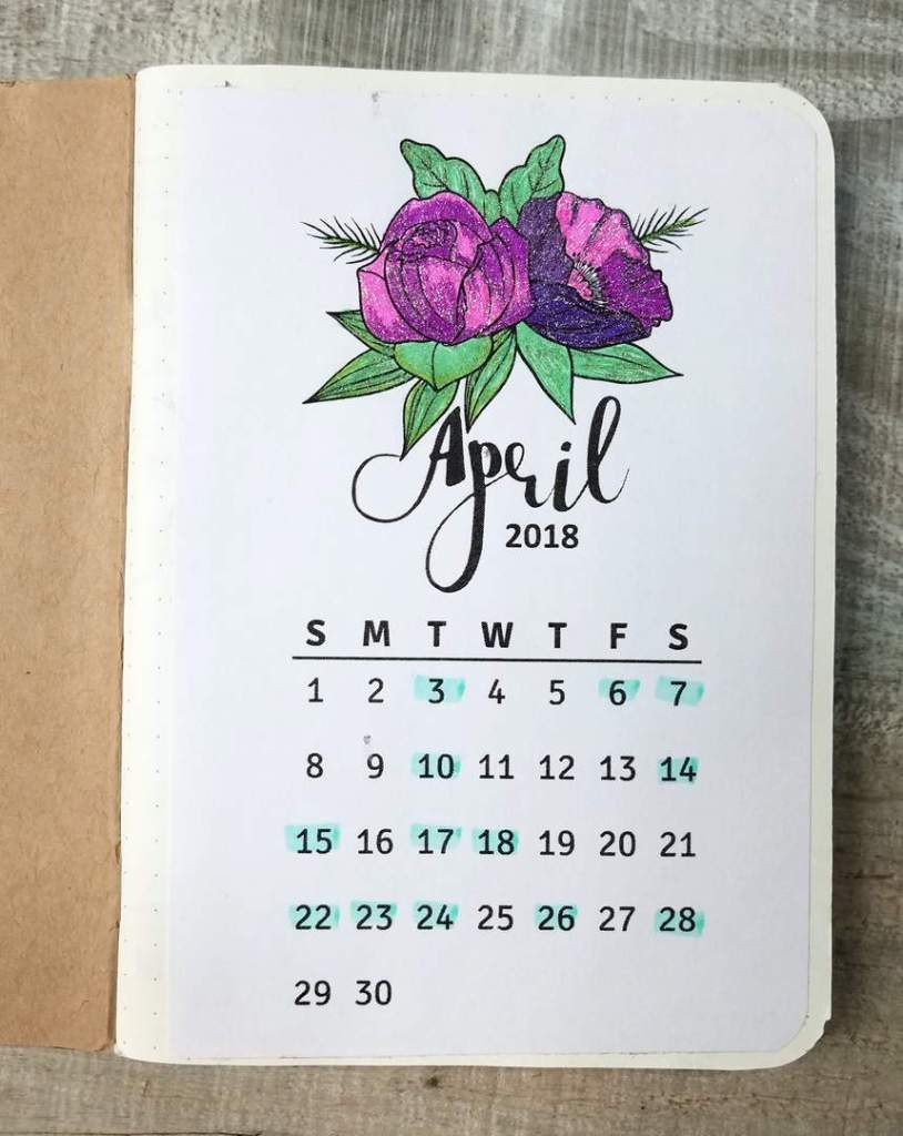 April Floral Calendar Colored