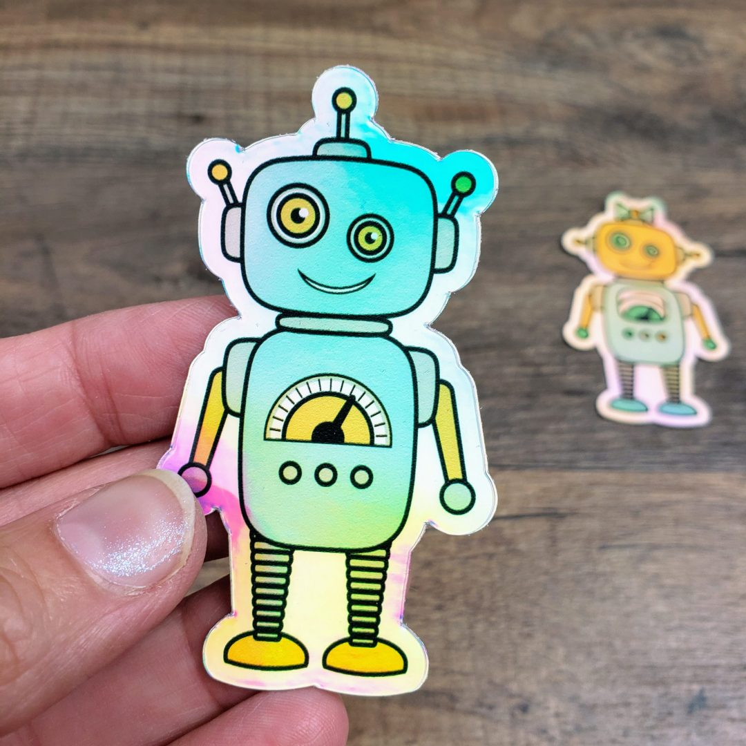 Boy robot sticker