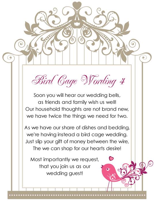 Birdcage Wishing Well Wordings