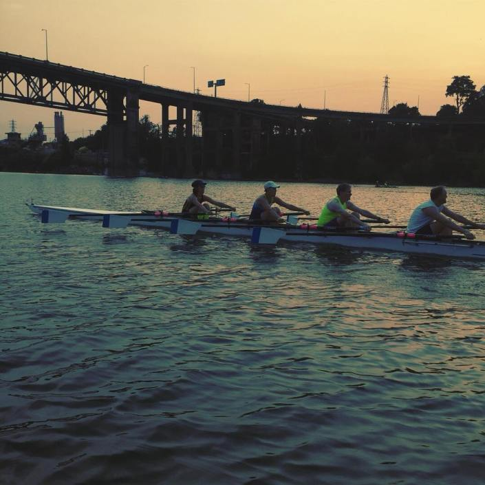 Mixed 4x at the catch under a dusky sunrise